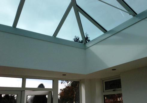 Lantern roof in an orangery, installed by Mendip Conservatories in Clevedon, North Somerset