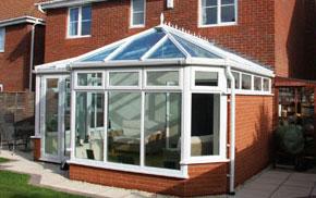 A white uPVC conservatory